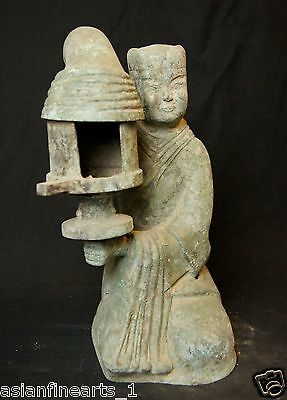 Han Dynasty Old Chinese Antique Woman Light Lamp Candle Holder Bronze Statue