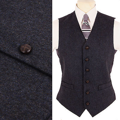 Mens Wool DONEGAL TWEED Blend Fleck Waistcoat Blue NEW All Sizes Retro Vest Vtg