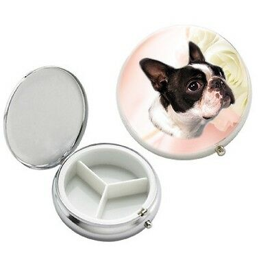 Boston Terrier Dog 3 Compartment Round Metal Pill Box by paws2print
