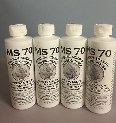 MS 70 INDUSTRIAL STRENGTH  COIN BRIGHTENER AND CLEANER for GOLD, SILVER, 8OZ 4PK