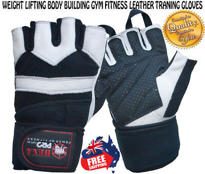 Hb Weight Lifting Bodybuilding Gym Fitness Leather Training Wraps Straps Gloves