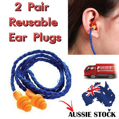 2 Pair of 3M Reusable Hearing Protection Earplugs Corded Soft Silicone Ear Plug