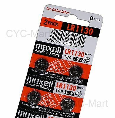 4pcs x Zero Hg Maxell LR1130  Batteries AG10 189 Brand New FREE POST 12/2021
