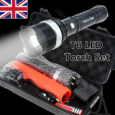 Super Bright XM-L T6 LED Adjustable Focus Rechargeable Flashlight Torch UK Stock