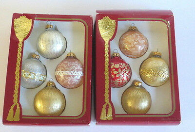 8 Victorian Style Glass Christmas Balls