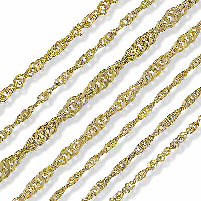 9Ct Gold 16 18 20 22 24 Singapore Flat Curb Rope Belcher Rolo Chain Necklace Box