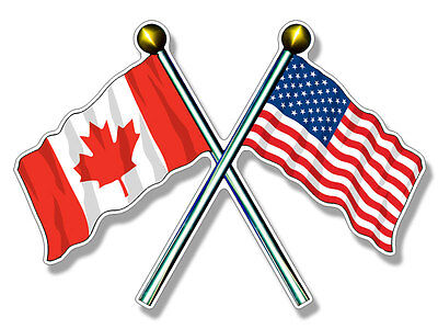 3x5 inch Crossed Poles USA & CANADA Waving Flags Sticker - american canadian
