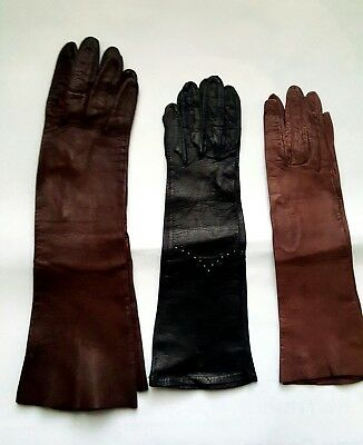 "VINTAGE KIDSKIN  LEATHER WOMEN'S GLOVES 12-1/4"" to 15"" Length Select One"