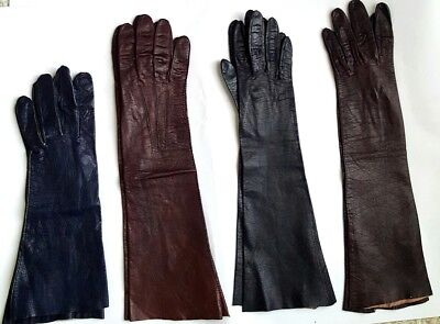 "VINTAGE ARIS KIDSKIN LEATHER WOMEN'S GLOVES SZ:7, 7-1/4"" 14.5""-15""L MadeInFrance"