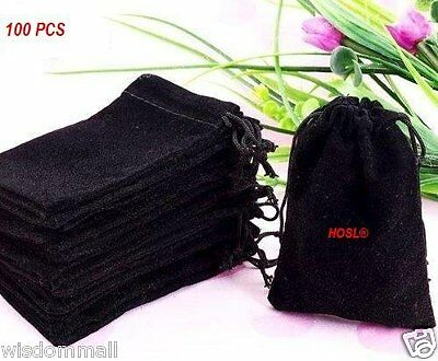 Jewelry Boxes Wholesale Black Velvet Cloth Pouches Drawstring Bags Rings 100 Pcs