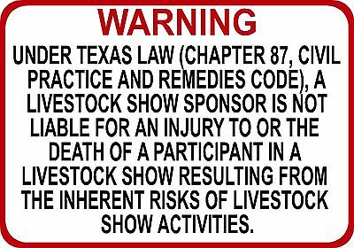 TEXAS Livestock Show Sponsor Liability Sign - Chapter 87 civil practice code