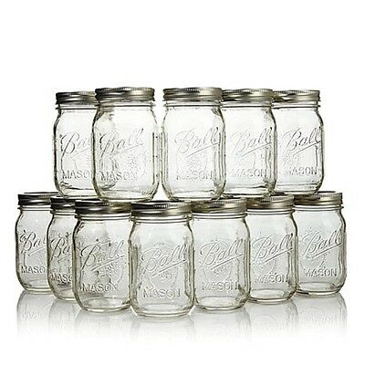 12 x Ball Mason Pint (475ml) Regular Mouth Jars Lids BPA Free Weddings Parties