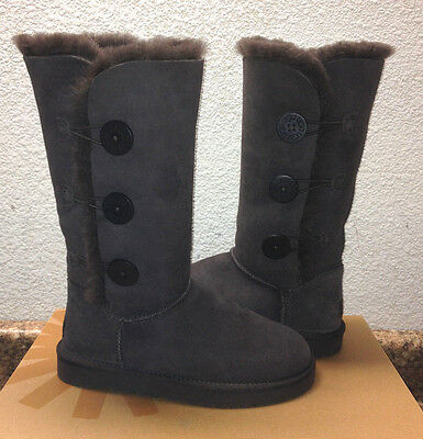 f0b8f2a531153 UGG BAILEY BUTTON Triplet Sand Tall Sheepskin Boots Size Us 5 uk 4 ...