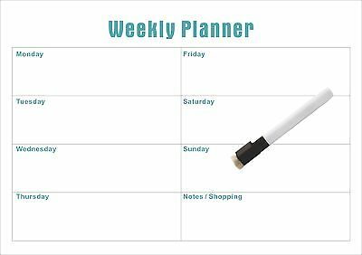 Weekly A3 Magnetic planner with Free Whiteboard Marker (Australian Made)