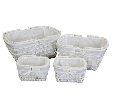 White Lined Open Weave Baskets Hamper Basket With Handle Rectangle - MEDIUM