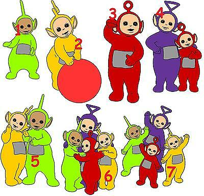 7 Teletubbies Vinyl Wall Stickers 3 Sizes A6 A5 A4