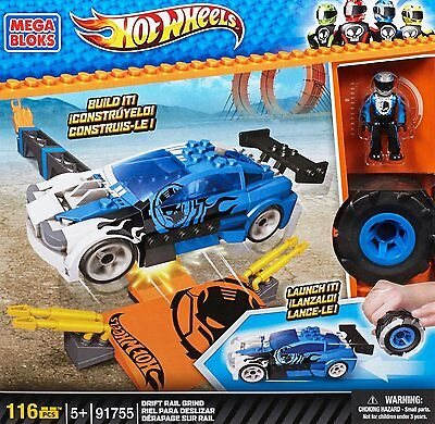 "Mega Bloks® Hot Wheels Auto Launch It ""Drift Rail Grind Blue"" 116 Bauteile - NEU"