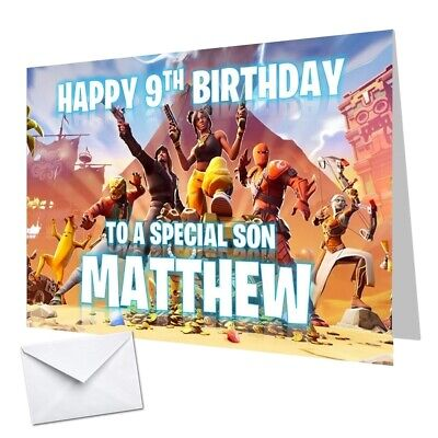 Personalised Fortnite Season 8 Birthday Card Any NAME Any AGE Any RELATION 14x21