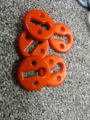 ONE RECLAIMED RED BAKELITE KEY HOLE COVER / ESCUTCHEON      -KC2a-