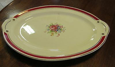 Taylor Smith Taylor Pink Floral Platter Maroon Banded with Gold Trim