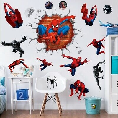 3d Spiderman Crack Smash Wall Stickers Smash Superhero Vinyl Decal Boys Bedroom