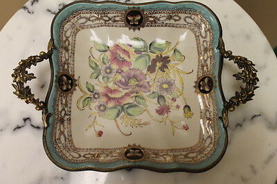 """12"""" Hand painted with Bronze Dominic Porcelain Platter"""