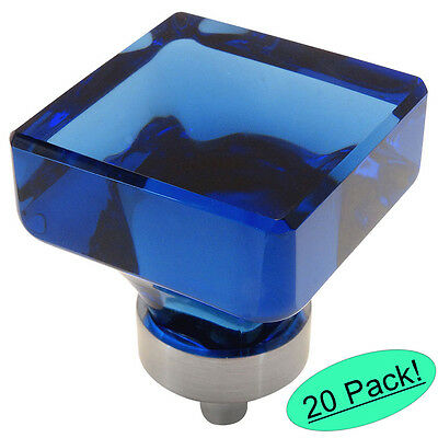 *20 Pack* Cosmas Satin Nickel & Blue Glass Square Cabinet Knobs #6377SN-BL