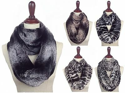 Women's Faux Fur Scarf Winter Warm 2 Loop Fuzzy Soft Infinity Eternity Animal