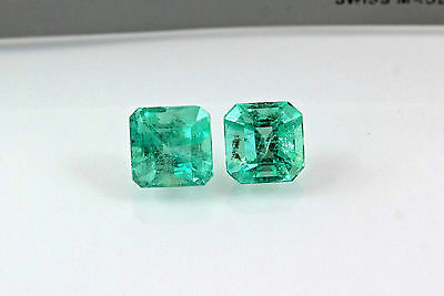 7mm 4.0 TCW Square Matched Pair Natural Colombian Emeralds Loose Gemstones