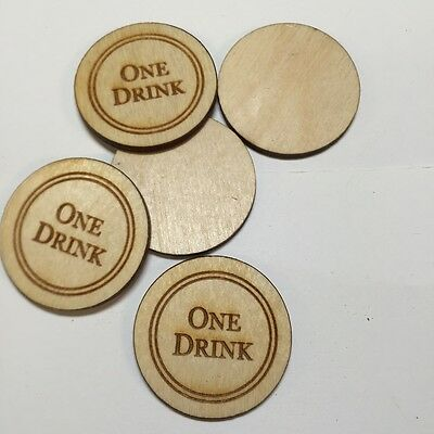 250 High Quality Laser-Engraved Durable Wooden Drink Tokens! Perfect For Events!