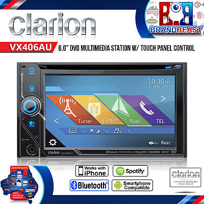 "Clarion Vx406au 6"" Multi Media Car Receiver 2din Usb Ipod Bt Sd Hdmi Rep Vx404au"