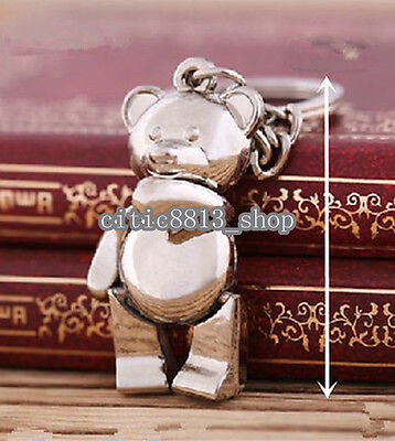 Cute Movable Metal Teddy Bear Keychain Keyring Keyfob Ring Trinket 3D Pendant CI