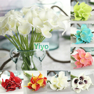 1-20PCS Artificial Real Touch PU Calla Lily Silk Fake Flowers Home Wedding Decor