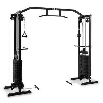 Black Steel Cable Pull Station Multi Home Gym 2X 170Lb Power Lift * Free P&p Uk