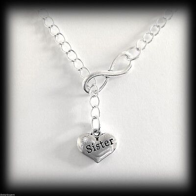 Sister infinity diamante silver plated necklace birthday christmas gift present