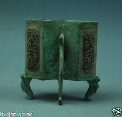 Rare Ancient Chinese Bronze Inlay Jade Siamesed Vessel ZUN With Dragon Feet