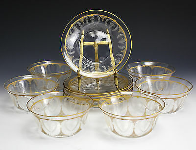 12pc Continental Art Glass Berry Bowls & Under Plates, c1940 Gilt & Hand Etched