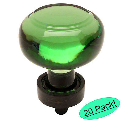 *20 Pack* Cosmas 6355ORB-EM Oil Rubbed Bronze & Emerald Glass Cabinet Knob