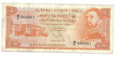 Ethiopia 5 Dollars 1961 in (F) Condition Banknote P-19