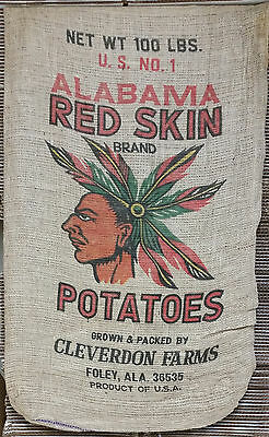 Vintage 100lb Burlap Potato Sack - Original 1930's Design - Mint