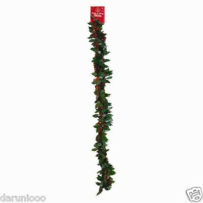 2m 6.5 Ft Luxury Thick Tinsel Christmas Tree Decoration Garland Holly and Berry