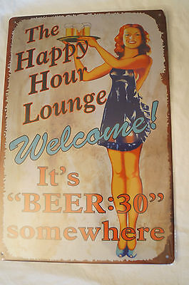 RETRO STYLE TIN SIGN - Happy Hour Lounge - It's Beer:30 Somewhere.