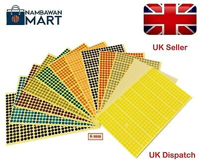 6mm Coloured Dots Round Stickers Sticky Adhesive Spot Circle Paper Labels UK DS6