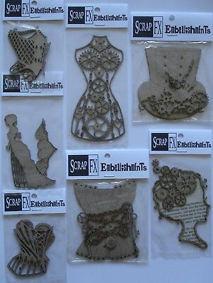 U Choose) 7 Steampunk Chippies ~ Corsets Dress Top Hat Woman Lady Cogs ~ ScrapFX