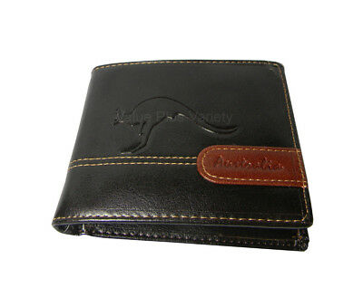 Australian Souvenir Mens Brown Tan Genuine Leather Wallet -  Kangaroo Embossed