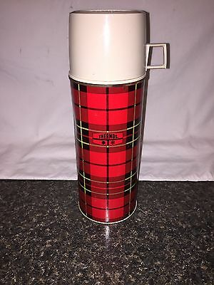 Vintage Thermos Red Plaid Bottle #2395