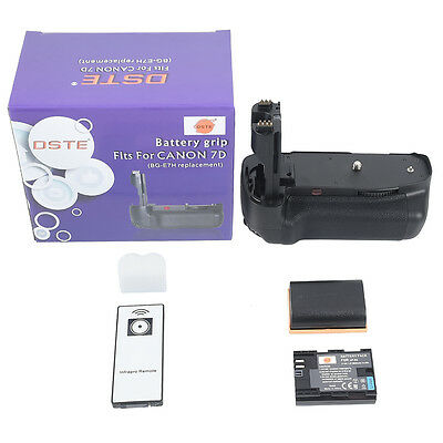 DSTE BG-E7 Battery Grip With Remote for Canon EOS 7D SLR Camera + 2x LP-E6