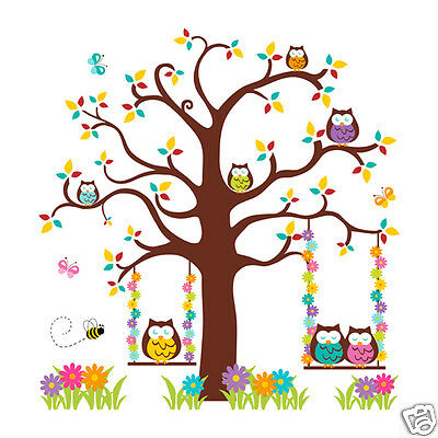Owl Tree Decal Mural Wall Art Girl Woodland Forest Animals Nursery Stickers