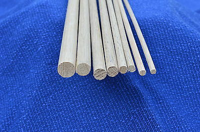 Hardwood dowel rod 6,7,8,9,12,12.7,15,18mm  diameters x 300mm wooden doweling