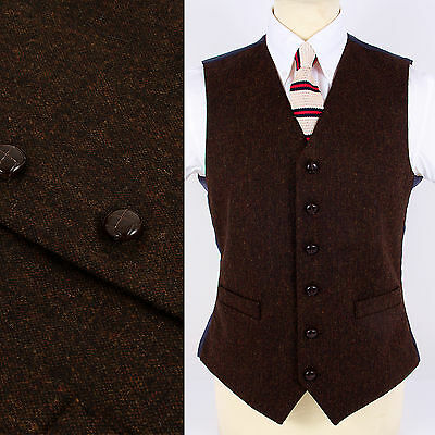 Mens Wool Blend DONEGAL TWEED Fleck Waistcoat Brown NEW All Sizes Vest Vtg Retro